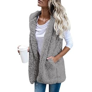Jackets & Blazers - Sherpa Fleece Furry Hoodie Vest Faux Fur
